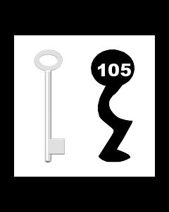Buntbartschlüssel für Kastenschloss Nr. 105 (Abbildung von der Ringseite aus gesehen)