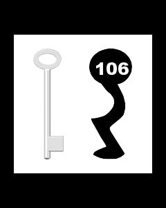 Buntbartschlüssel für Kastenschloss Nr. 106 (Abbildung von der Ringseite aus gesehen)