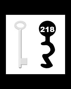 Buntbartschlüssel für Kastenschloss Nr. 218 (Abbildung von der Ringseite aus gesehen)