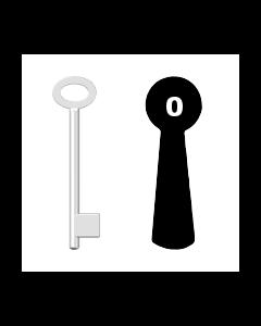 Buntbartschlüssel für Kastenschloss Nr. 0 (Abbildung von der Ringseite aus gesehen)