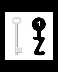 Buntbartschlüssel für Kastenschloss Nr. 1 (Abbildung von der Ringseite aus gesehen)
