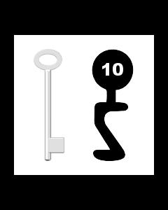 Buntbartschlüssel für Kastenschloss Nr. 10 (Abbildung von der Ringseite aus gesehen)