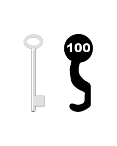 Buntbartschlüssel für Kastenschloss Nr. 100 (Abbildung von der Ringseite aus gesehen)