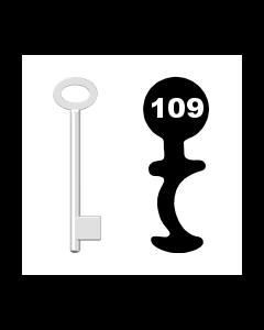 Buntbartschlüssel für Kastenschloss Nr. 109 (Abbildung von der Ringseite aus gesehen)