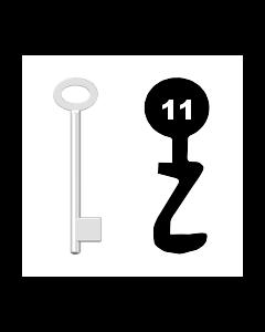 Buntbartschlüssel für Kastenschloss Nr. 11 (Abbildung von der Ringseite aus gesehen)