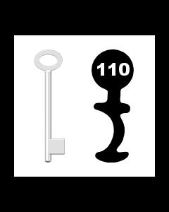 Buntbartschlüssel für Kastenschloss Nr. 110 (Abbildung von der Ringseite aus gesehen)