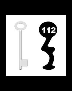 Buntbartschlüssel für Kastenschloss Nr. 112 (Abbildung von der Ringseite aus gesehen)