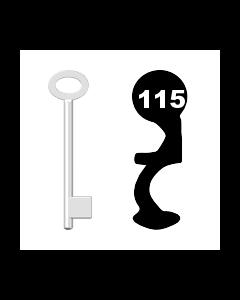 Buntbartschlüssel für Kastenschloss Nr. 115 (Abbildung von der Ringseite aus gesehen)