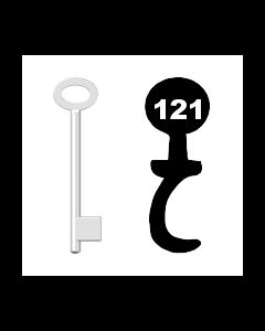 Buntbartschlüssel für Kastenschloss Nr. 121 (Abbildung von der Ringseite aus gesehen)