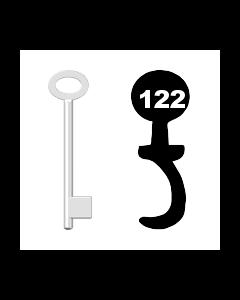 Buntbartschlüssel für Kastenschloss Nr. 122 (Abbildung von der Ringseite aus gesehen)