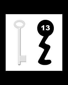 Buntbartschlüssel für Kastenschloss Nr. 13 (Abbildung von der Ringseite aus gesehen)