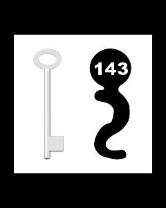 Buntbartschlüssel für Kastenschloss Nr. 143 (Abbildung von der Ringseite aus gesehen)