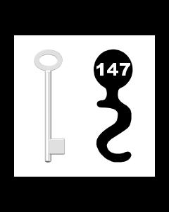 Buntbartschlüssel für Kastenschloss Nr. 147 (Abbildung von der Ringseite aus gesehen)