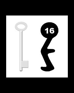 Buntbartschlüssel für Kastenschloss Nr. 16 (Abbildung von der Ringseite aus gesehen)