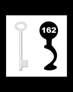 Buntbartschlüssel für Kastenschloss Nr. 162 (Abbildung von der Ringseite aus gesehen)