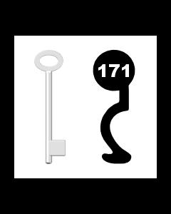 Buntbartschlüssel für Kastenschloss Nr. 171 (Abbildung von der Ringseite aus gesehen)