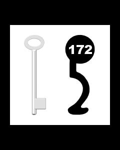 Buntbartschlüssel für Kastenschloss Nr. 172 (Abbildung von der Ringseite aus gesehen)