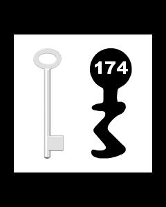 Buntbartschlüssel für Kastenschloss Nr. 174 (Abbildung von der Ringseite aus gesehen)