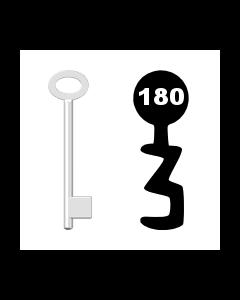 Buntbartschlüssel für Kastenschloss Nr. 180 (Abbildung von der Ringseite aus gesehen)