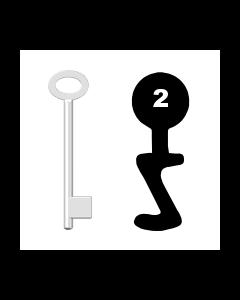 Buntbartschlüssel für Kastenschloss Nr. 2 (Abbildung von der Ringseite aus gesehen)