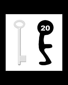 Buntbartschlüssel für Kastenschloss Nr. 20 (Abbildung von der Ringseite aus gesehen)