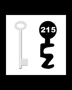 Buntbartschlüssel für Kastenschloss Nr. 215 (Abbildung von der Ringseite aus gesehen)