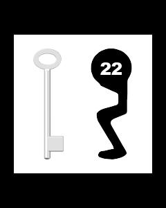 Buntbartschlüssel für Kastenschloss Nr. 22 (Abbildung von der Ringseite aus gesehen)