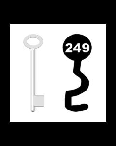 Buntbartschlüssel für Kastenschloss Nr. 249 (Abbildung von der Ringseite aus gesehen)