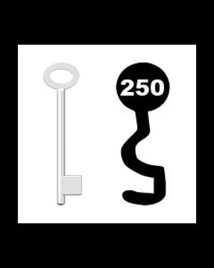 Buntbartschlüssel für Kastenschloss Nr. 250 (Abbildung von der Ringseite aus gesehen)