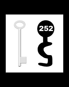Buntbartschlüssel für Kastenschloss Nr. 252 (Abbildung von der Ringseite aus gesehen)