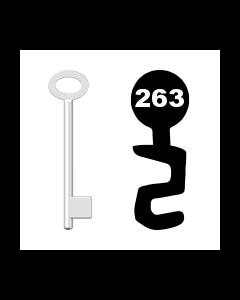 Buntbartschlüssel für Kastenschloss Nr. 263 (Abbildung von der Ringseite aus gesehen)