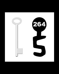 Buntbartschlüssel für Kastenschloss Nr. 264 (Abbildung von der Ringseite aus gesehen)