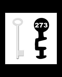 Buntbartschlüssel für Kastenschloss Nr. 273 (Abbildung von der Ringseite aus gesehen)