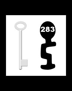 Buntbartschlüssel für Kastenschloss Nr. 283 (Abbildung von der Ringseite aus gesehen)
