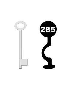 Buntbartschlüssel für Kastenschloss Nr. 285 (Abbildung von der Ringseite aus gesehen)
