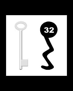 Buntbartschlüssel für Kastenschloss Nr. 32 (Abbildung von der Ringseite aus gesehen)