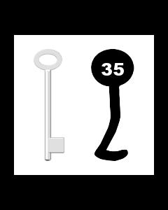 Buntbartschlüssel für Kastenschloss Nr. 35 (Abbildung von der Ringseite aus gesehen)