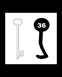 Buntbartschlüssel für Kastenschloss Nr. 36 (Abbildung von der Ringseite aus gesehen)