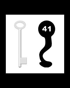 Buntbartschlüssel für Kastenschloss Nr. 41 (Abbildung von der Ringseite aus gesehen)