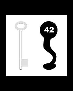 Buntbartschlüssel für Kastenschloss Nr. 42 (Abbildung von der Ringseite aus gesehen)