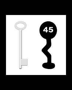 Buntbartschlüssel für Kastenschloss Nr. 45 (Abbildung von der Ringseite aus gesehen)