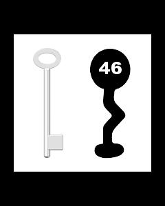 Buntbartschlüssel für Kastenschloss Nr. 46 (Abbildung von der Ringseite aus gesehen)