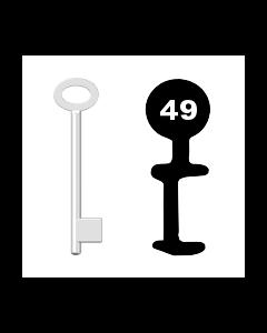 Buntbartschlüssel für Kastenschloss Nr. 49 (Abbildung von der Ringseite aus gesehen)