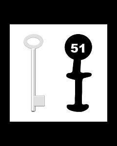 Buntbartschlüssel für Kastenschloss Nr. 51 (Abbildung von der Ringseite aus gesehen)