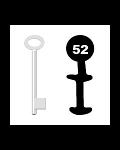 Buntbartschlüssel für Kastenschloss Nr. 52 (Abbildung von der Ringseite aus gesehen)
