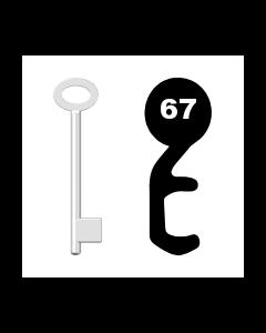 Buntbartschlüssel für Kastenschloss Nr. 67 (Abbildung von der Ringseite aus gesehen)