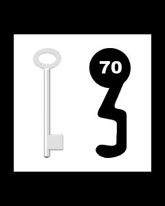 Buntbartschlüssel für Kastenschloss Nr. 70 (Abbildung von der Ringseite aus gesehen)