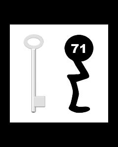 Buntbartschlüssel für Kastenschloss Nr. 71 (Abbildung von der Ringseite aus gesehen)