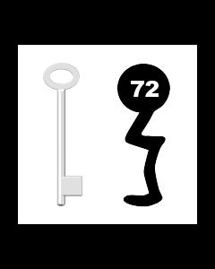 Buntbartschlüssel für Kastenschloss Nr. 72 (Abbildung von der Ringseite aus gesehen)