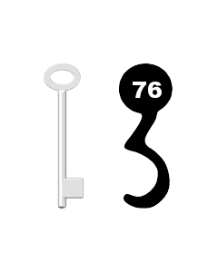 Buntbartschlüssel für Kastenschloss Nr. 76 (Abbildung von der Ringseite aus gesehen)